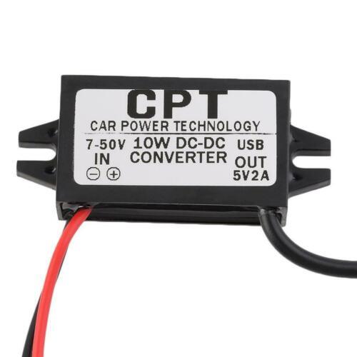 Waterproof DC 7-50V To 5V 2A USB Female Step Down Converter Regulator For Car FT