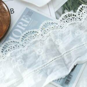 1-Yard-Embroidery-Floral-Lace-Cotton-Trim-Ribbon-Wedding-Fabric-Sewing-14cm-Wide