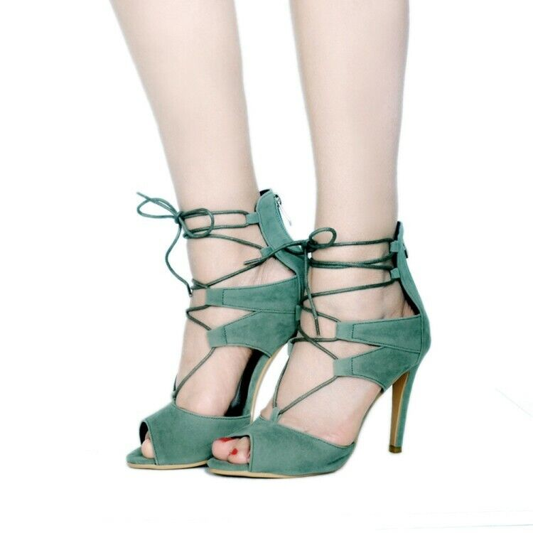 Women Ankle Strap Sandals Suede High Heels Peep Toe Strappy Lace-up Summer shoes