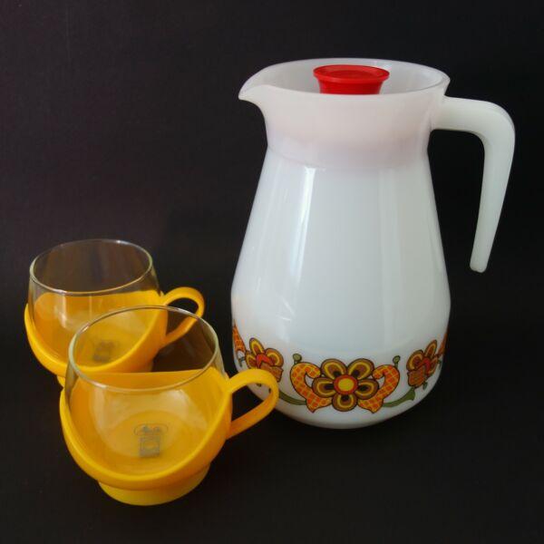 1 Teekanne 2 Teegläser Im Halter Melitta - Jena Jenaer Glas Schott Mainz 70er