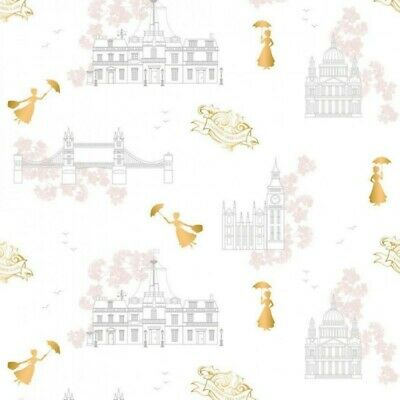 """mary poppins on white 100/% cotton fabric 45/"""" Wide"""