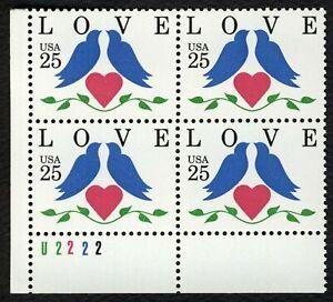 #2440 25c Amor Aves, Placa Bloque [U2222 Ll ], Nuevo Cualquier 4=
