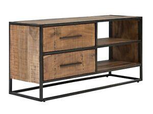 Details Zu Tv Bank Lowboard Massiv Akazie Holz Hell 2 Schubladen Schrank Metall Oklahoma