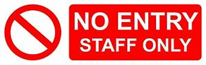 6x-NO-ENTRY-STAFF-ONLY-sign-sticker-red-vinyl-horizontal-rectangle-20x6-5cm