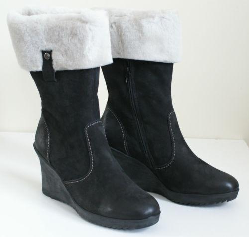 PAUL GREEN GIANNI Black Genuine Nubuck Shearling Winter Boots Womens 8.5 NEW
