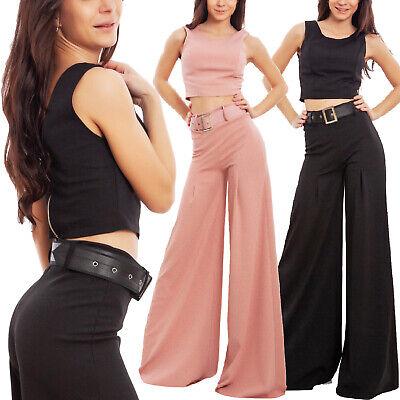 Cordiale Completo Donna Elegante Crop Top Pantaloni Campana Cintura Sexy Toocool Wd-2500