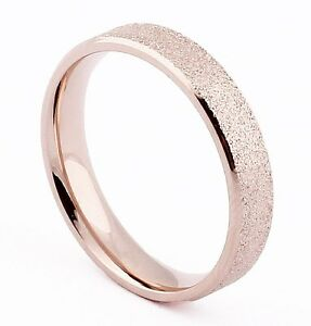 Image Is Loading 4mm Rose Gold Polished Stainless Steel Ring Wedding