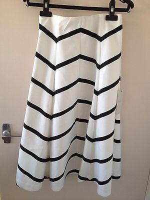 BNWT ZARA Black And White Striped Midi Skirt Size S