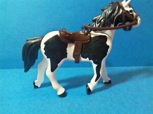 PLAYMOBIL Western - Cheval pie noire selle cow boy marron- noir 3è génération