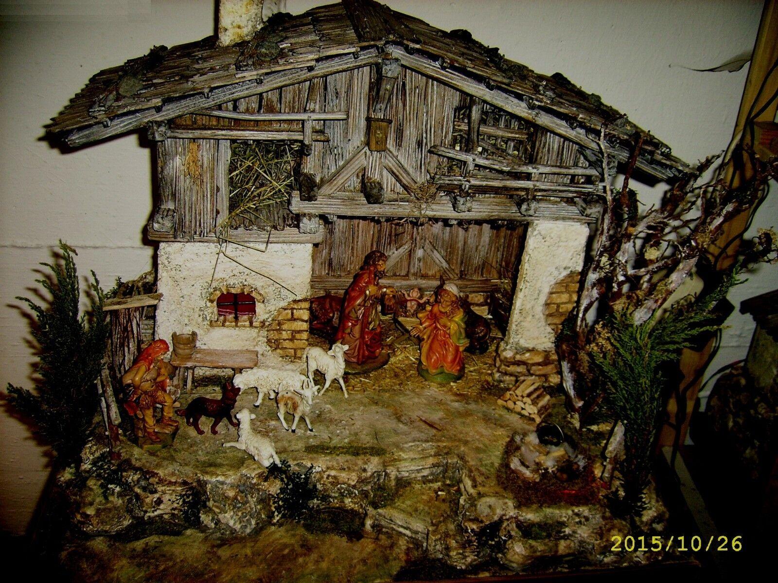 Südtiroler crèche-artisanat-épicéa - 60x60x45 CM-illuminé-peint