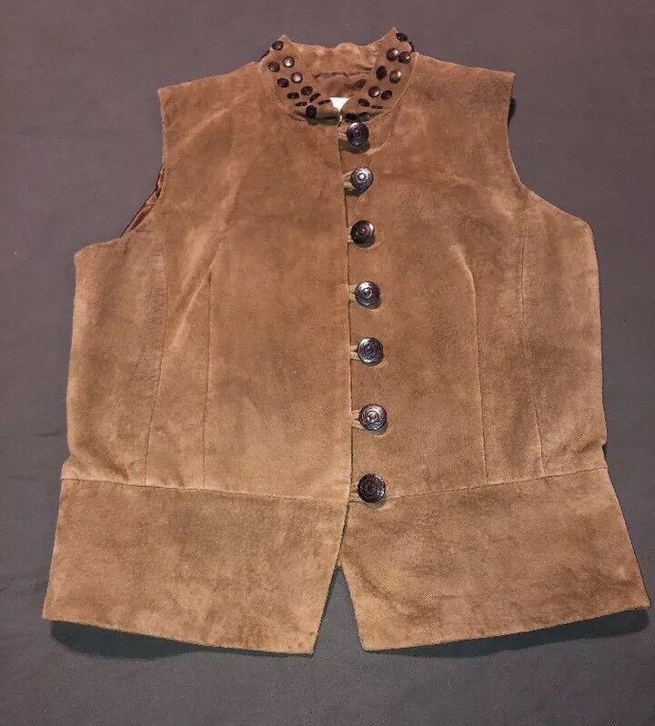 Margaret Godfrey Tan Beige Suede Leather Studded Collar Button Up Vest Sz Medium