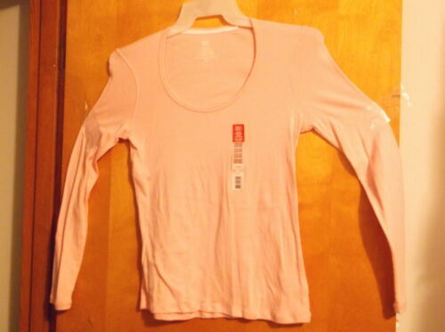 "BRAND NEW LADY/'S /""FADED GLORY/"" PINK SCOOP NECK  LONG SLEEVE T/' SHIRT  T/' SHIRT"