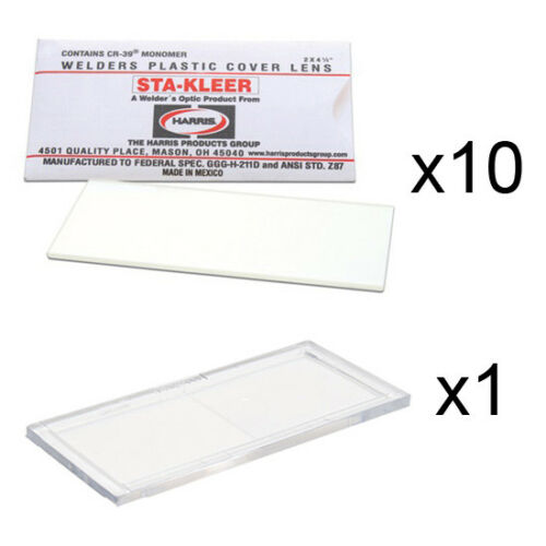 """10 Clear Hood Lens Covers /& 1 Plastic Magnifier 1.75 Diopter Cheater 2/"""" x 4.25/"""""""
