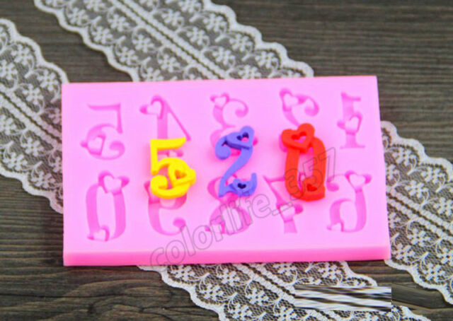 New Heart Numbers Silicone Mould Fondant Cake Mold Candy Decorating Baking Tools