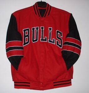 b19ec4107df NBA Chicago Bulls Wool Reversible Jacket Red & Black JH Design S | eBay