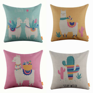 Tropical-Llama-Cactus-Square-Pillow-Case-Decorative-Cushion-Cover-Kids-Baby-Room