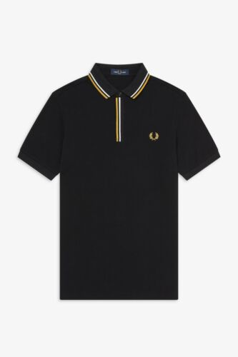 M8559-102 Tipped Placket Fred Perry Black Polo T-Shirt