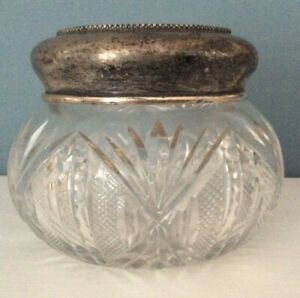 Cut-Glass-Crystal-Large-Dresser-Jar-Beaded-Sterling-Lid-4-25-034-x-3-5-034-Tall