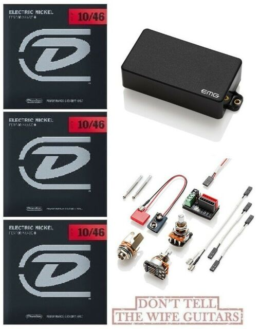 EMG 60 BLACK ACTIVE SOLDERLESS HUMBUCKER GUITAR PICKUP SHORT SHAFT POTS /& WIRING