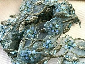 """Embroidered 1.25"""" Organza Flower Hand Sewn Trim Sequins Beads 1yd Blue Moss"""