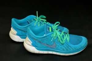 premium selection c70a7 4bd8f Details about NIKE FREE 5.0 Womens Barefoot Ride Teal Blue Running Shoes Sz  8.5 / 40