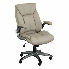 Executive Office Chair Champagne Tall Back Over Padded Soft Luxury Computer Seat