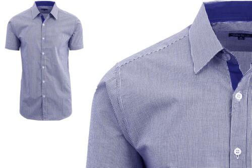 Men/'s Short Sleeve Shirt Plaid Checkered Slim Fit Button Down Dress Casual NWT