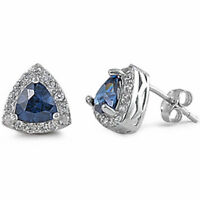Trillion Cut Sapphire & Cz .925 Sterling Silver Earring on sale