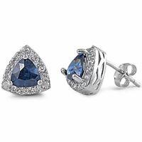 Trillion Cut Sapphire & Cz .925 Sterling Silver Earring