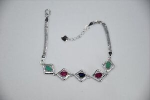 NATURAL-GREEN-EMERALD-BLUE-SAPPHIRE-RED-RUBY-925-SILVER-BRACELET