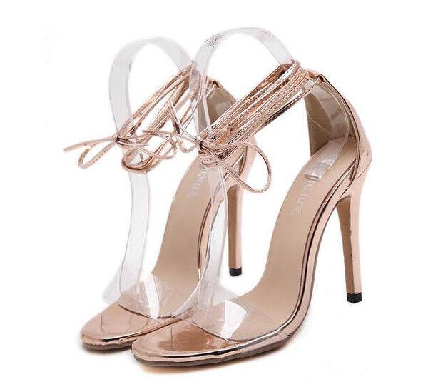 Sandalo eleganti tacco stiletto 11 cm oro lacci simil  simil simil   simil 334c69