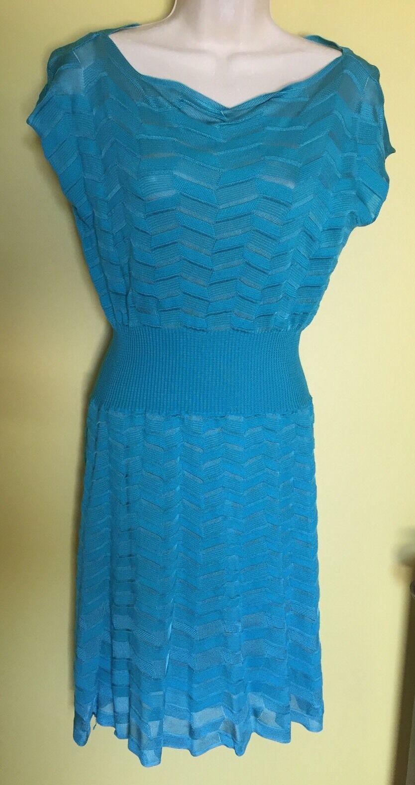 New Missoni Chevron Knit Stretch Turquoise Aqua bluee DRESS 4 40 S