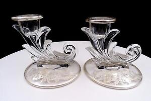 SILVER-CITY-FOSTORIA-BAROQUE-FLANDERS-STERLING-OVERLAY-2-PC-3-7-8-034-CANDLESTICKS