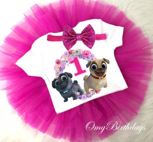 Hot Pink Puppy Dog Pals Birthday Girl Tutu Shirt Headband Outfit Set 1st First