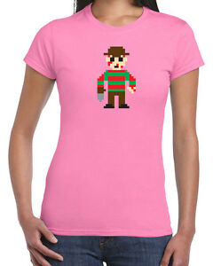 285-8-Bit-Freddy-womens-T-shirt-scary-horror-film-movie-nightmare-80s-elm-cool