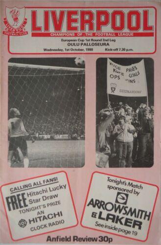 Oulu Palloseura Programm EC 1980//81 Liverpool FC