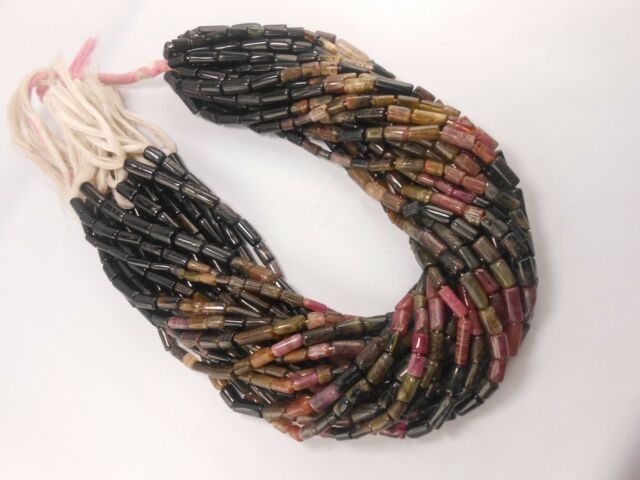 """Genuine Natural Multi Tourmaline Tube Smooth Necklace Loose Beads15""""Str"""