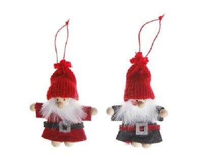 Two Santa Claus / Father Christmas Tree Hangers / Hanging Decorations in Felt