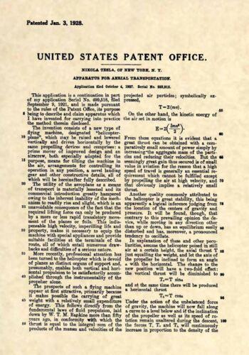 Official Nikola Tesla US Patent Art Print-Vintage Helicopter Flight Original 231
