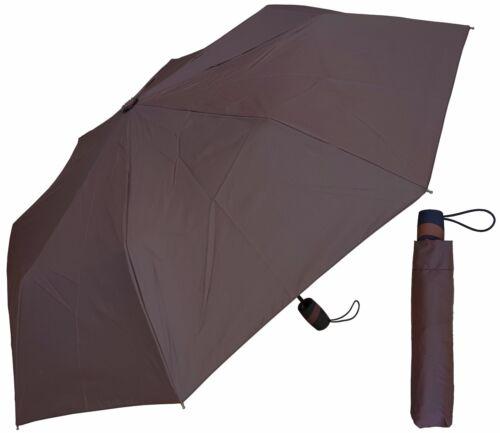 """RainStoppers Rain//Shine Gray or Chocolate Brown 42/"""" Arc Mini Auto-Open Umbrella"""
