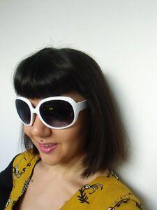 Détails sur Grosses lunettes de soleil oversize branches monture blanche rétro pinup