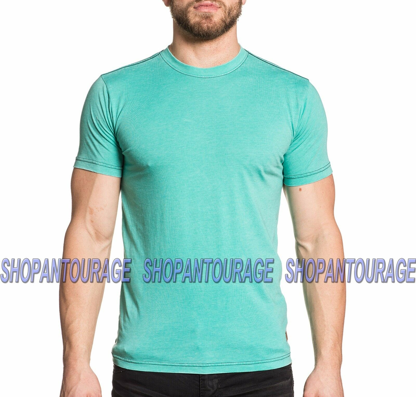 AFFLICTION Standard Supply A16490 New Men`s 50 50 Aqua Burnout T-shirt