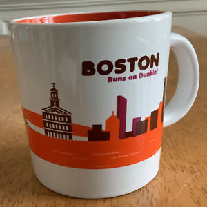 BOSTON RUNS ON DUNKIN Coffee Mug Dunkin Donuts 2013 Boston Ceramic Cup 12 oz NEW