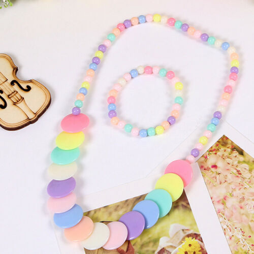 Children Kid Girl Cute Mix Color Resin Bead Necklace Bracelet Set Jewelry Gift