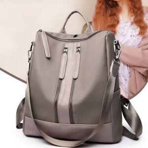 Women-s-Leather-Anti-Theft-Backpack-Rucksack-Black-Khaki-School-Shoulder-Bag-MAR
