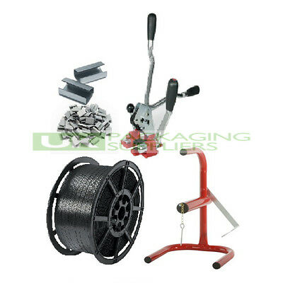 HAND PALLET STRAPPING BANDING KIT 12MM COIL + MULTI COMBO TOOL + SEALS + STAND