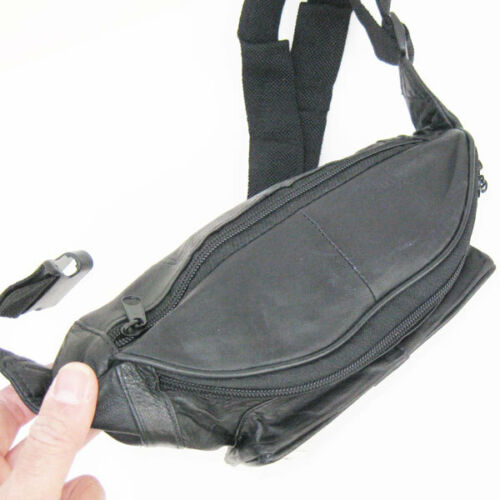 Black Leather Fanny Pack Sport Travel Waist Hip Bag Travel Sport Men Women