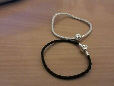 2 X GENUINE LEATHER BRAIDED CHARM BRACELET FOR BEADS BLACK and WHITE.