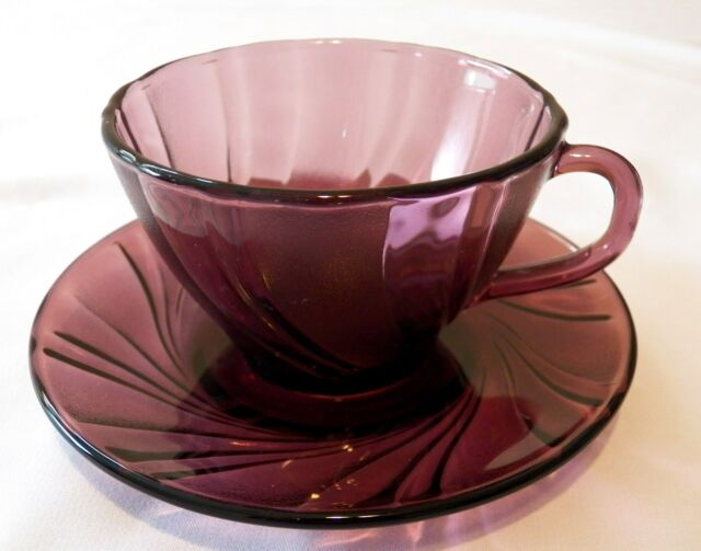 DURALEX FRANCE RIVAGE AMETHYST CUP & SAUCER SET(S)