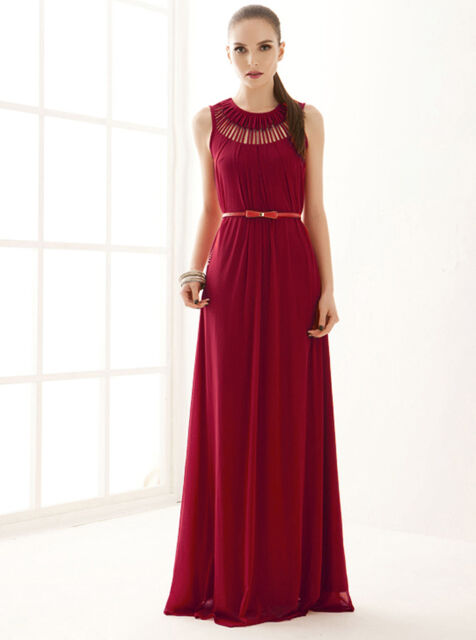 HOT Womens Goddess Hollow Sleeveless Chiffon Maxi Party Cocktail Long Full Dress